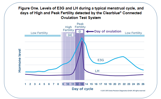 Levels of E3G and LH during a typical menstrual cycle