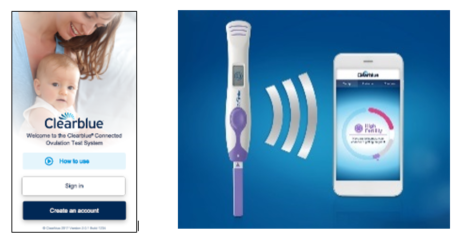 Clearblue Connected Ovulation test and phone screen